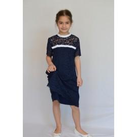 abito cerimonia bambina damigella pizzo blu