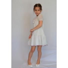 abito bambina cerimonia damigella chiffon floccato panna lilla
