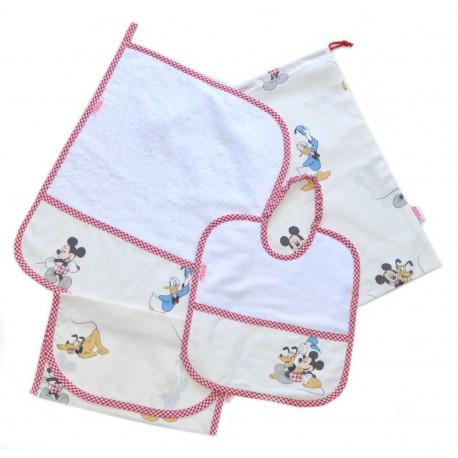 Asciugamani E Bavaglini Personalizzati.Set Asilo Bavaglino Asciugamano Sacchetto Portabavaglino Disney