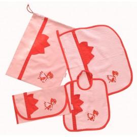 set asilo bambina cotone bavaglino asciugamano portabavaglino sacchetto gufetta
