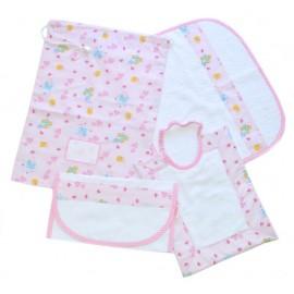 set asilo bambina 100% puro cotone sacchetto bavaglino asciugamano