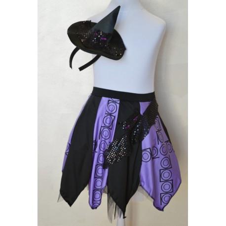 abito carnevale bambina costume halloween gonna viola/nera