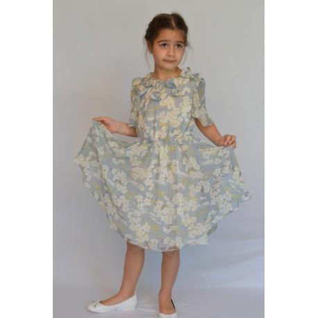 abito bambina cerimonia damigella chiffon fantasia fiori