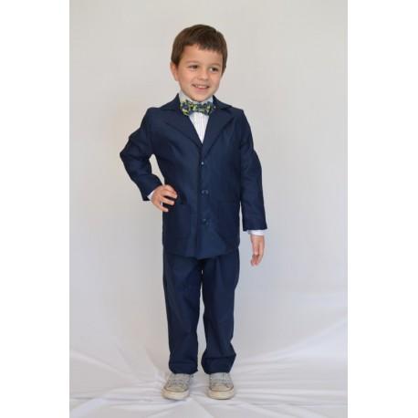 Abito cerimonia bambino cotone blu camicia giacca pantalone
