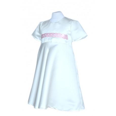 abito bambina cerimonia damigella raso panna