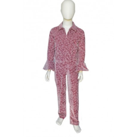 pink velvet jumpsuit