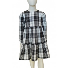 White/black Tartan girl dress