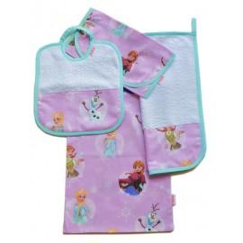 set asilo bavaglino asciugamano portabavaglino sacchetto