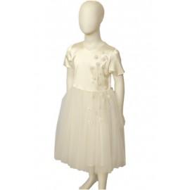 abito cerimonia bambina applicazioni margherite e perle