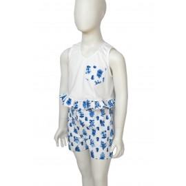 Completo shorts bambina  fiori blu